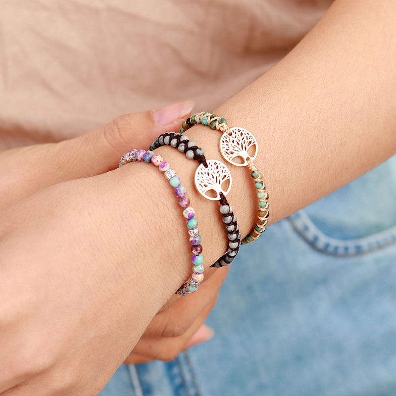 Tree Charm Bracelets African Japser String Braided Bracelets Yoga Friendship Lover Bracelet 2