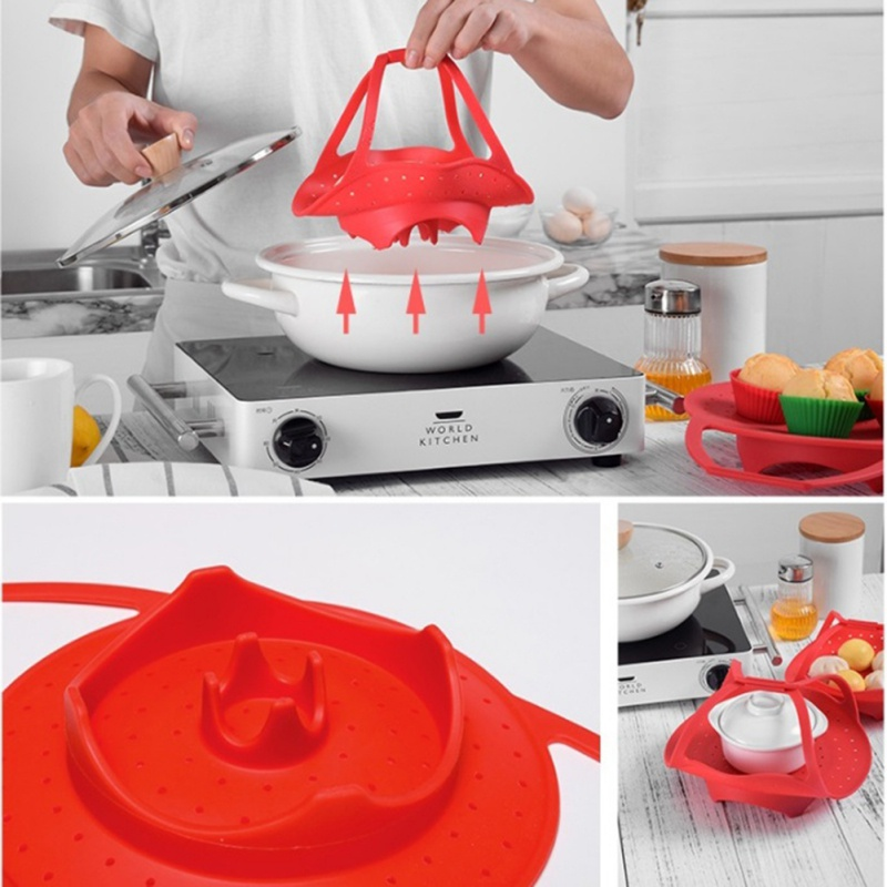 Silicone Retractable Steamer For Egg Bread Steamed Telescopic Pot Steaming Tray Stand Storage Baskets Kitchen Accessories
