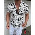 2021 New Men's Hawaii Casual Shirts Male Single-Breasted Letter Printing Clothing Shirt Slim Fit Men's Short Sleeve Shirt