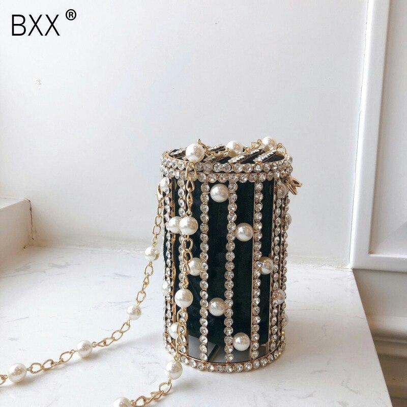 [BXX] 2020 Pearls Metallic Evening Clutch Bag Women Sweet Hollow Out Bucket Handmade Purses Handbag Beaded Shoulder Bags HJ724