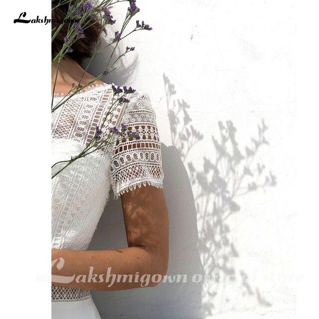 Sexy Boho Wedding Dress Plus Size Chiffon Beach Wedding Gown Lace Backless Sweep Train Bridal Gowns Boho Robe de mariee 2021 new 6
