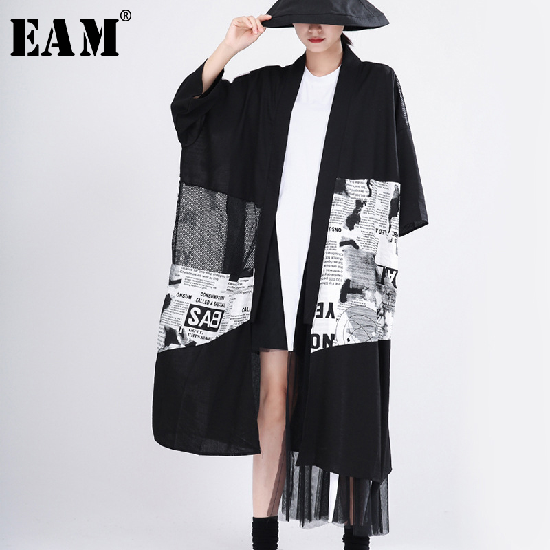[EAM] Women Blakck Mesh Pattern Printed Big Size Trench New V-collar Long Sleeve Loose Fit Windbreaker Fashion Spring 2020 1T056