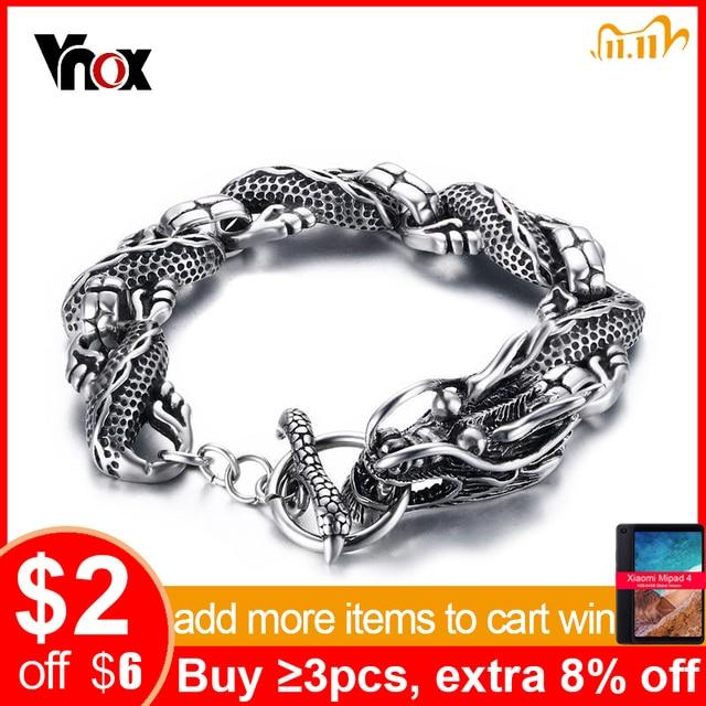 """Vnox Vintage Bracelet Dragon acier inoxydable chaîne Punk hommes bijoux 8.3 """"haute qualité"""