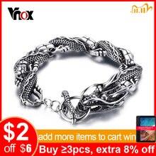 """Vnox Vintage Dragon bransoletka ze stali nierdzewnej stalowy łańcuch punkowa biżuteria dla mężczyzn 8.3 """"wysokiej jakości"""