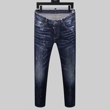 Dsq marca estilo europeu dos homens magro elástico calças de brim dos homens em linha reta denim zíper retalhos magro azul buraco jeans para homens 8150