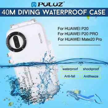 3 kleur PULUZ Voor HUAWEI P20 P20 PRO Mate20 pro 40 m/130ft Duiksport teléfono Beschermhoes Surfen snorkelen Video cubierta
