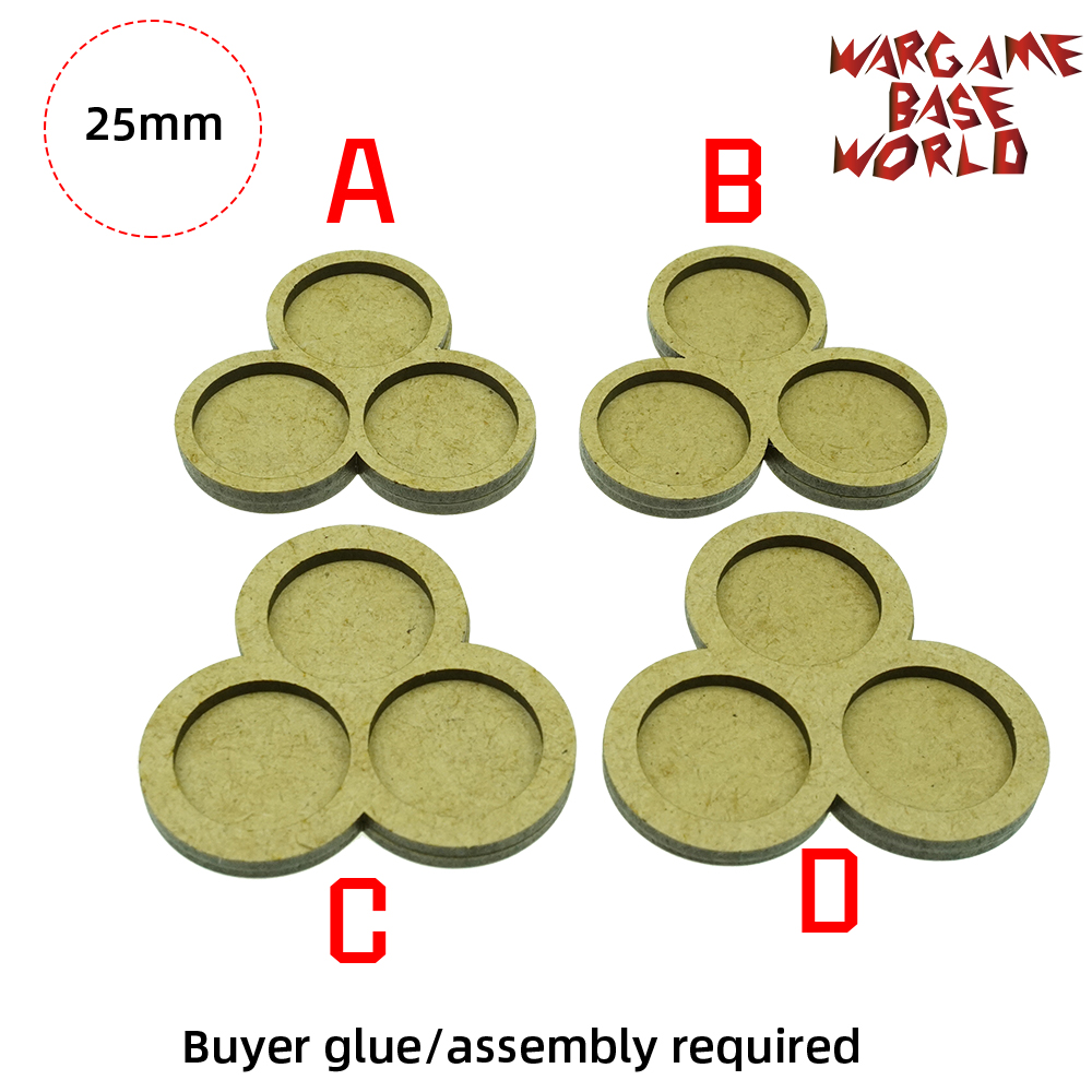 Wargame Base World - Movement Tray - 3 Round 25mm -  3 Sets