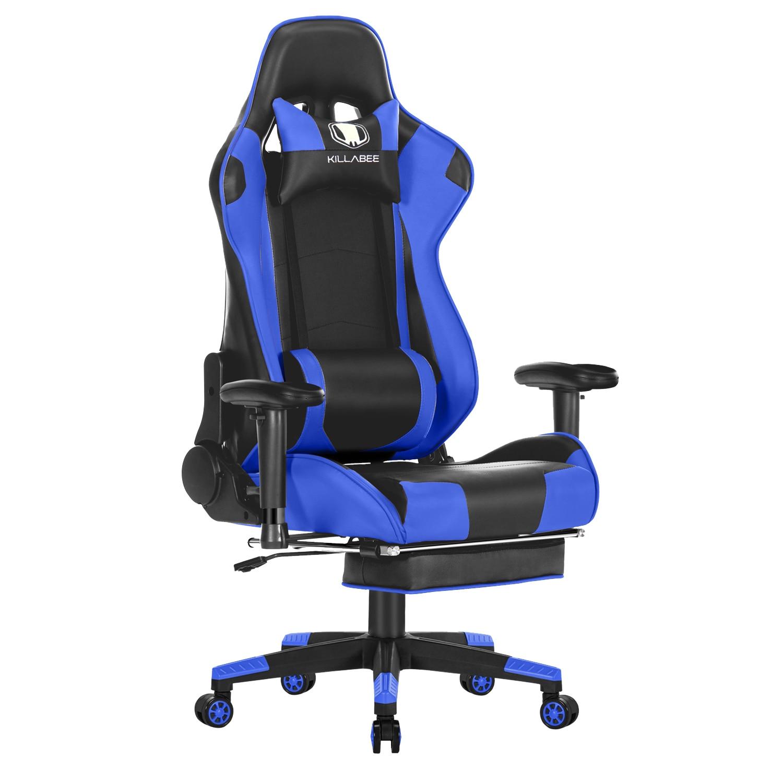 Big And Tall 350lb Massage Gaming Chair Metal Base - Adjustable Massage Lumbar Cushion, Retractable Footrest High Back Ergonomic