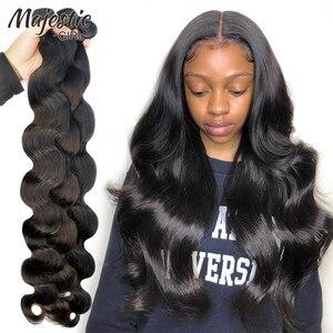 Majestic Girl 28, 30, 32, 40 дюймов, 1, 3, 4 бразильские волосы, волнистые пряди, волнистые волосы Remy, необработанные человеческие волосы для наращивания, н...