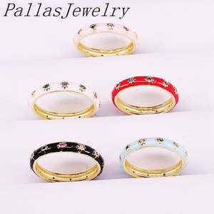 Image 4 - 10Pcs Anel Esmalte da Cor do Ouro com Cz Estrelas Anéis de Dedo Eterna Jóias Charme Mulheres Meninas Anéis