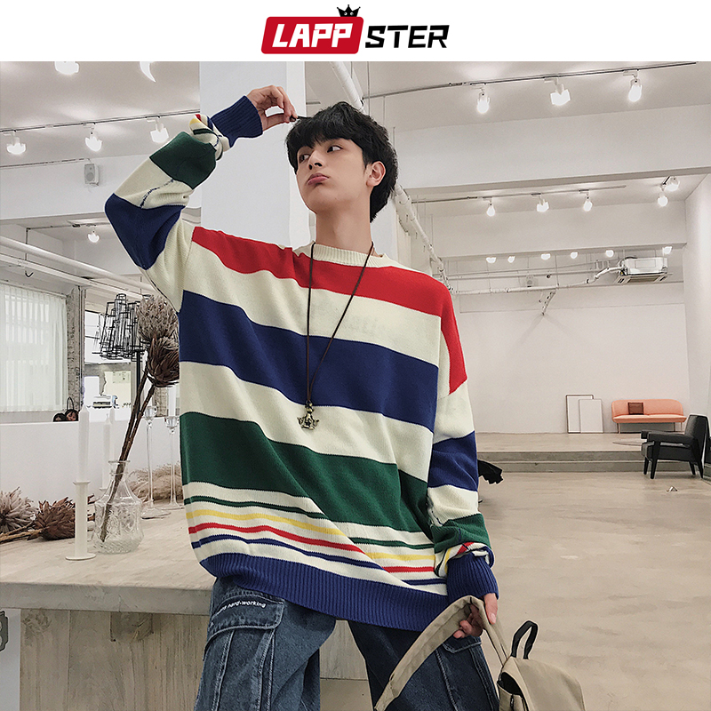 LAPPSTER Men Harajuku Striped Sweater 2019 Winter Korean Fashion Streetwear Sweater Male Hip Hop Oversize Pullover Clothing