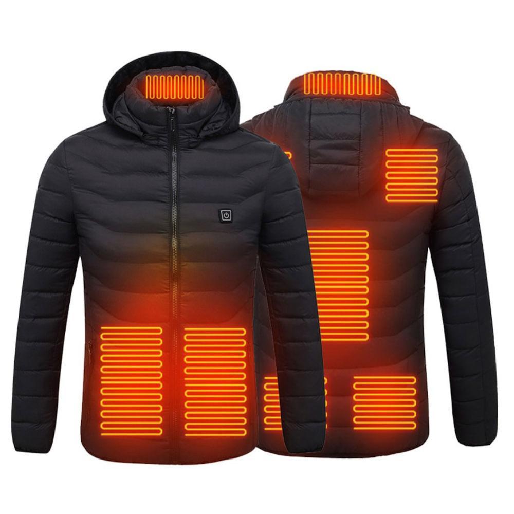 8 зон с подогревом куртки жилет двойной контроль пух хлопок мужские женские на открытом воздухе электрический обогрев с капюшоном куртки теплый зимний термальный пальто