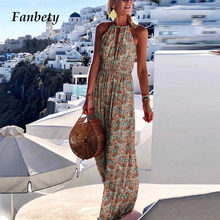 2021 Elegant Hollow Out Holiday Beach Boho Long Dress Summer Sleeveless Women Maxi Dress Sexy Halter Backless Lady Party Dresses