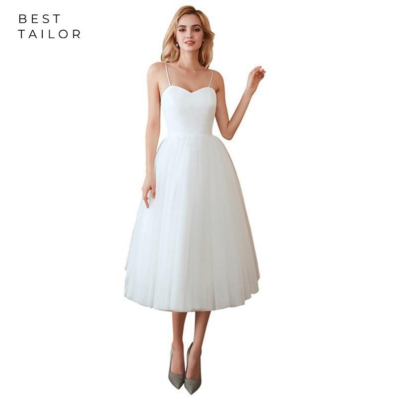 White Wedding Dresses 2020 Tulle Simple Little White Gowns Mid-Calf Spaghetti Bridal Bride Gown Vestido De Novia Robe Mariage