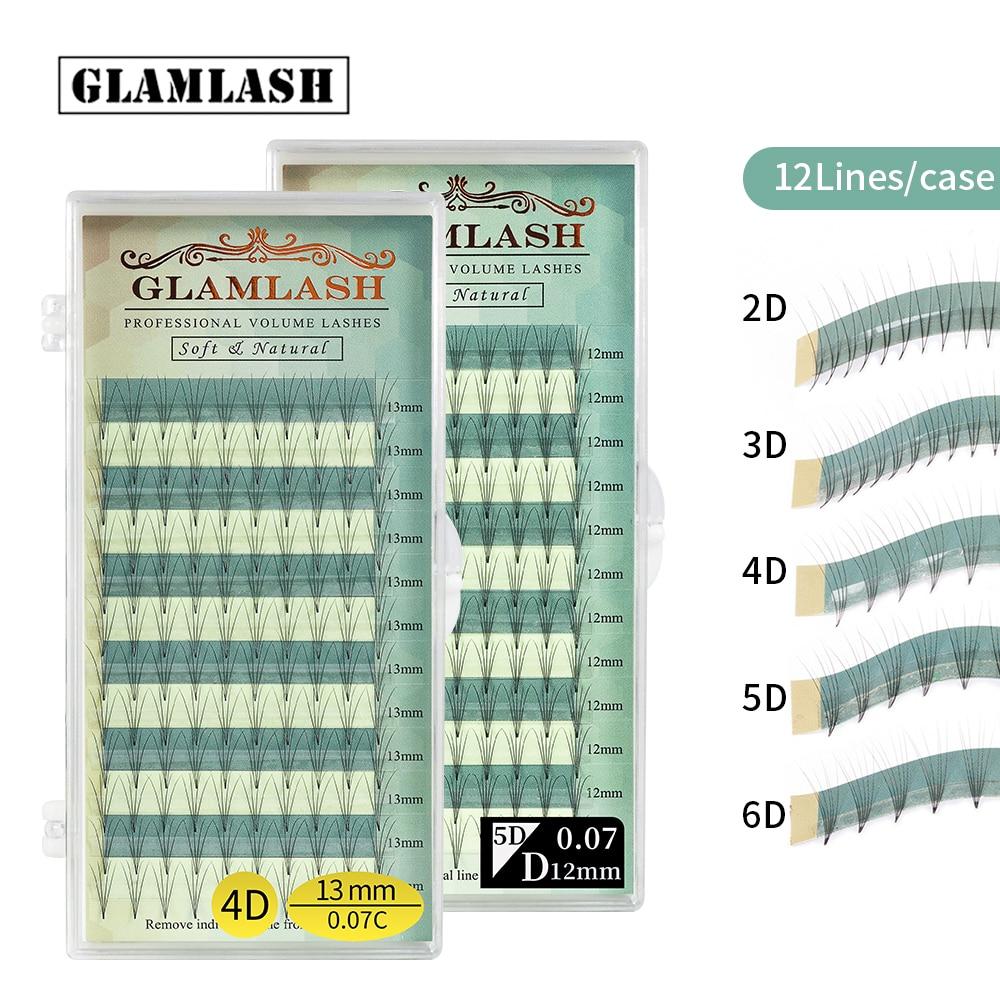 GLAMLASH Премиум готовый объемный веер 2D 3D 4D 5D 6D накладные ресницы русские норковые ресницы Индивидуальный инструмент для макияжа ресницы