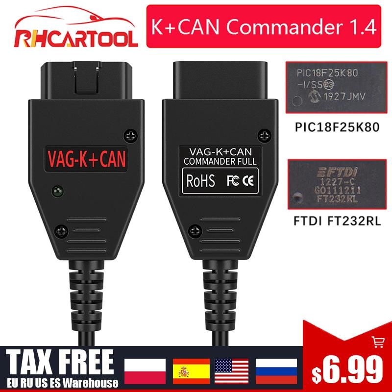 Для VAG K CAN Commander 1,4 FTDI FT232RL PIC18F25K80 OBD2 сканер диагностический инструмент для VW для гольфа/Бора для Jetta для VAG K-line