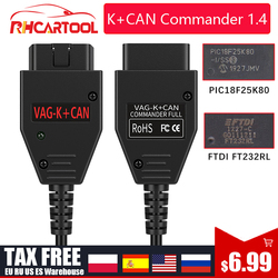 For VAG K CAN Commander 1.4 FTDI FT232RL PIC18F25K80 OBD2 Scanner Diagnostic Tool For VW for Golf/Bor for Jetta for VAG K-line