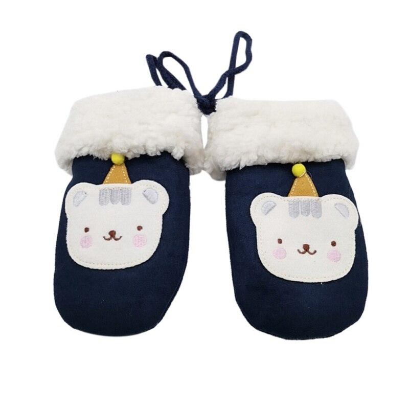 Winter  Boys Girls Gloves Cartoon Hanging Neck Children's Gloves Mittens Double Thick Knitting Warm Gloves W1