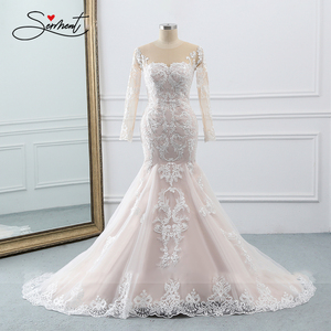 Image 5 - BAZIIINGAAA  Wedding Dress Sleeveless Round Neck Detachable Tail Wedding Dress Mermaid Lace Applique Bride Support Tailor made