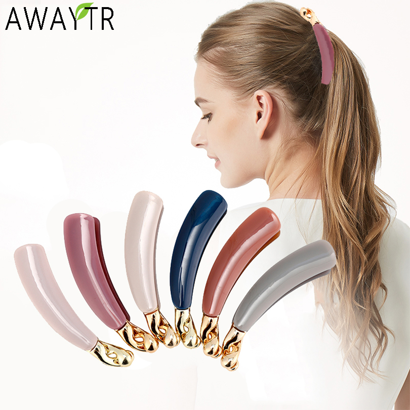 AWAYTR Girls Banana Hair Grip Claw Clamp Clip Hairpin Ponytail Holder Women Barrettes Headdress Hair Accessories Headbands
