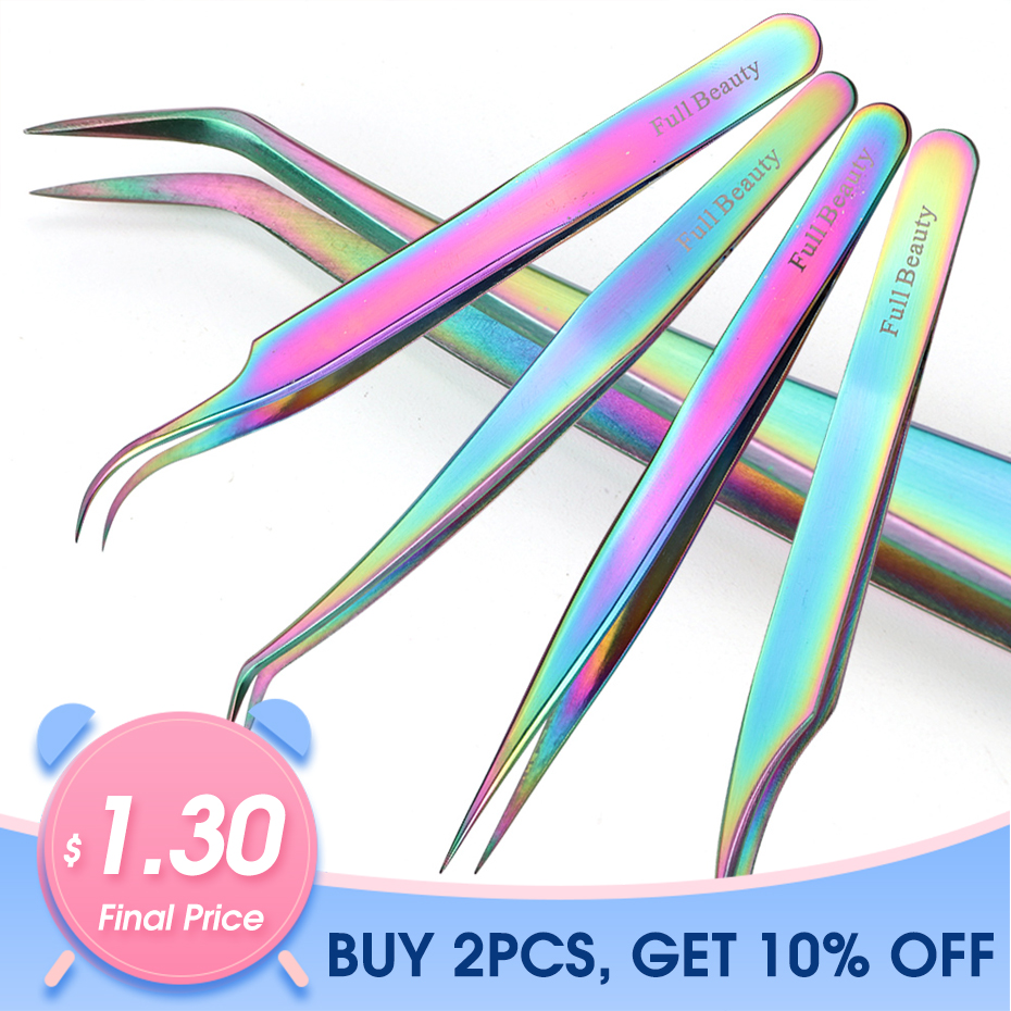 1pcs Curved Straight Tweezers Rainbow Eyelash Extension Nails Decor Picker Dead Skin Remover Manicure Makeup Nail Tools JIFBT1-4