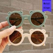 2021 New Kids Sunglasses Cartoon Bear Shape Girls Children Sun Glasses Round Metal Hinge Eyeglasses Cute Baby Shades Eyewear UV