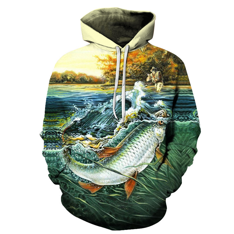 2019New Funny 3D Tropical Fish Sweatshirts For Fisherman Fishing Men Women Long Sleeve Hooded Hoodies Sweatshirts Streetwear 6XL