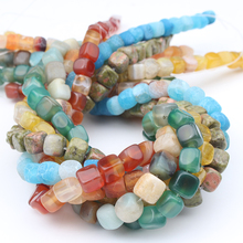 цена 6-8mm Colorful Square Fire Dragon Vein Agates Natural Stone Beads Loose Spacer Beads For Jewelry Making DIY Bracelet 15