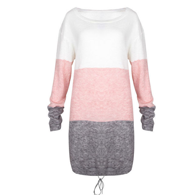 Fashion Autumn Women Knitted Sweater Long Sleeve O-Neck Loose Sweatshirt Pullover Long Top Mini Jumper Dress 4