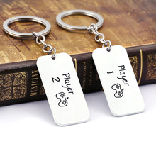 2019 Player 1 player 2 Keychain Men Letter Stainless Steel Key Chain Tag Pendant The necklace Car Game Jewelry llaveros Key Acce game metro 2033 keychain letter metro exodus skull dog tag pendant key chain for men car keyring llaveros jewelry