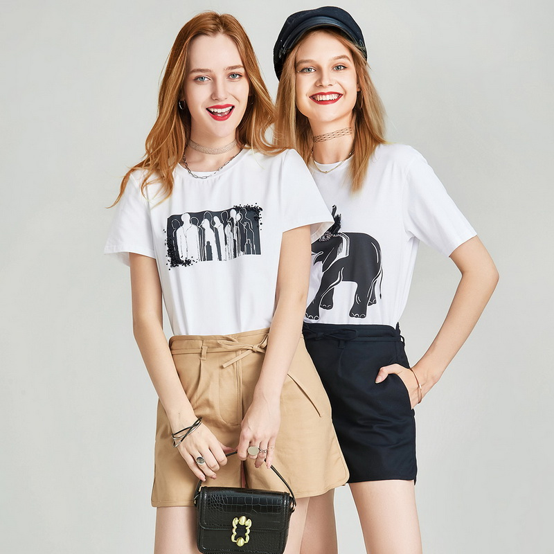HAVVA 2020 Summer New Combed Cotton Dust-free Blended Figure Silhouette Nail Bead Printed Women's Short-sleeved T-shirt T5161