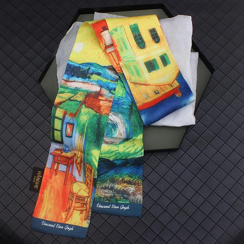 Van Gogh Oil Painting Twill Silk Scarf Women Neckerchief Skinny Scarf Bag Ribbon