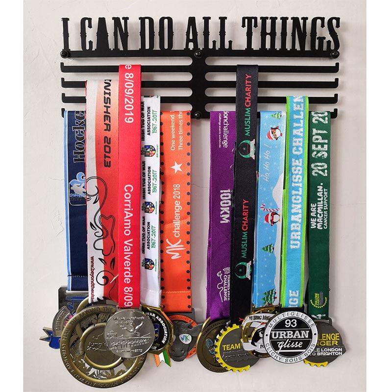 Cintre de médaille pour Marathon   Cintre en fer, I DO ALL THINGS, à 4 barres