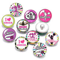 DB0549 Cheer Cheerleader 18mm snap buttons 10pcs mixed round photo glass cabochon style for snap button jewelry