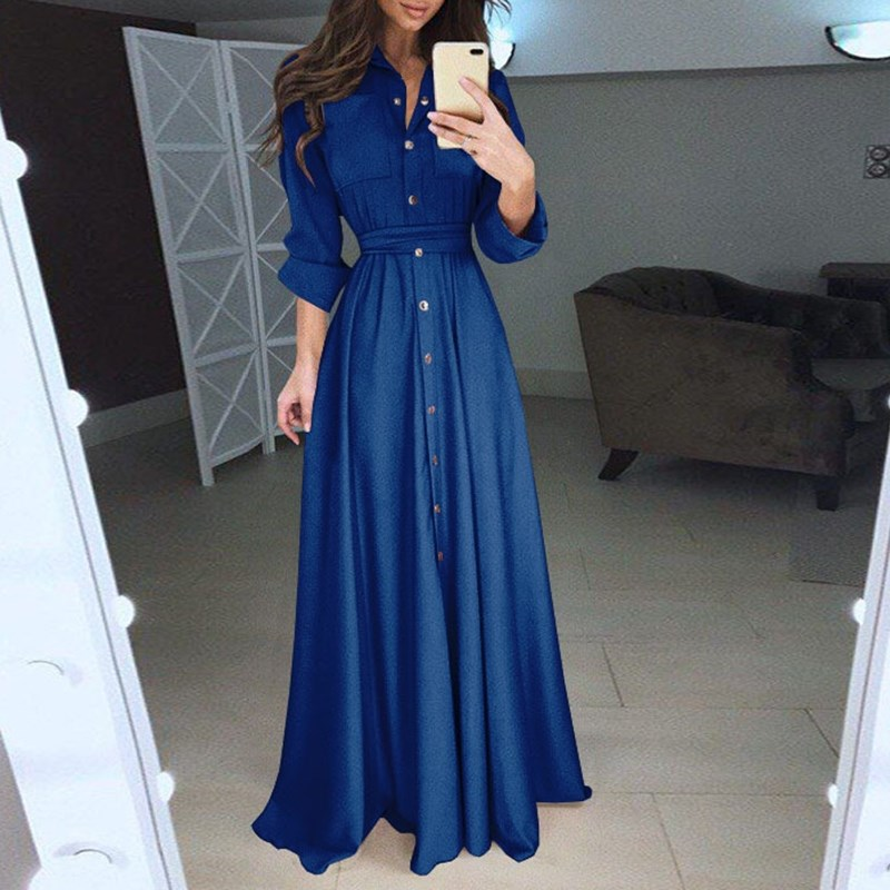 Women Elegant Button Long Shirt Dress Autumn Fashion Long Sleeve A Line Maxi Dress Casual Solid Pleated Long Dress Vestidos