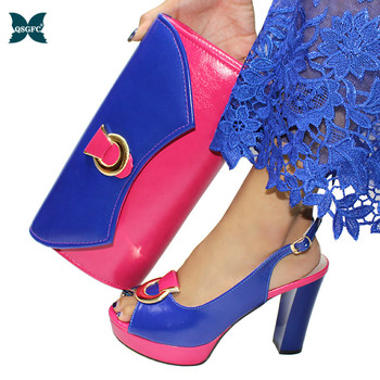 Red and Blue Color New Arrival African Matching Shoes and Bags Italian design In Women Nigerian Women Party Shoes and Bag Set