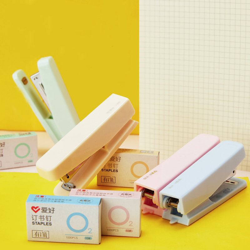 Mini Stapler Set With 1000pcs Staples 10# Macaron Color Binding Tools Stationery Office Accessories School Supplies A6146