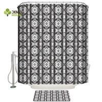 Dear House Shower Curtain and Mat Set Geometric Pattern Of Gray-White Ethnic Lattice Shower Curtain Set Waterproof Fabric