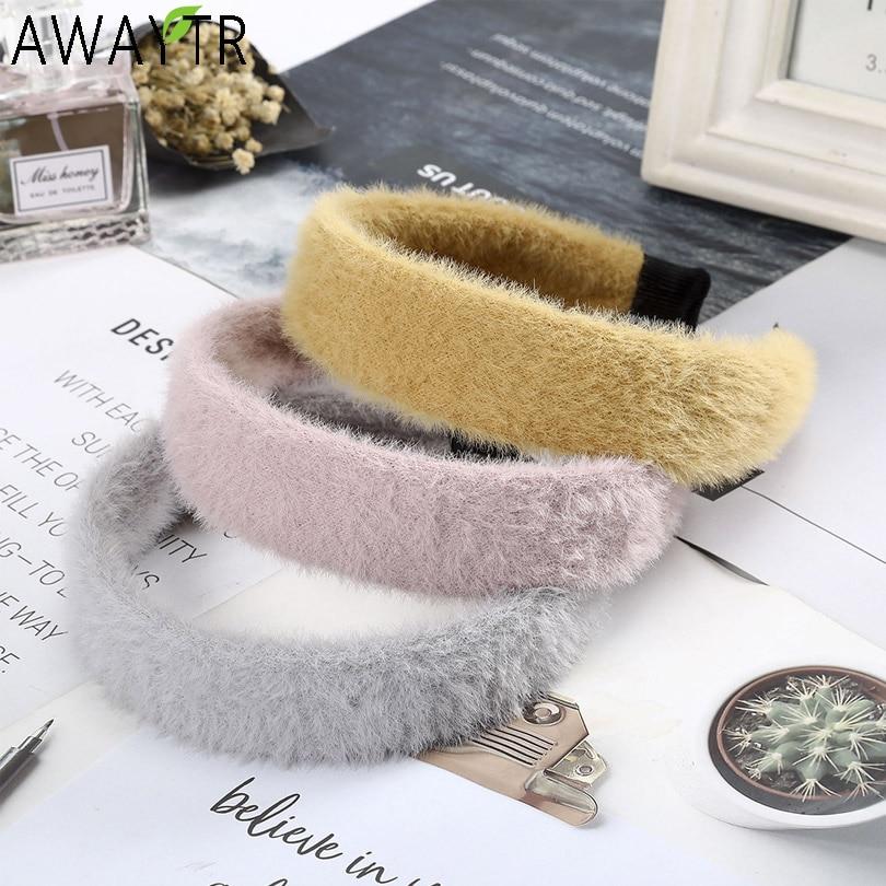 AWAYTR Korean Trendy Handmade Girls Mink Velvet Hairbands Wide Headbands Fashion Fur Headband Head Hoop Women Hair Accessories