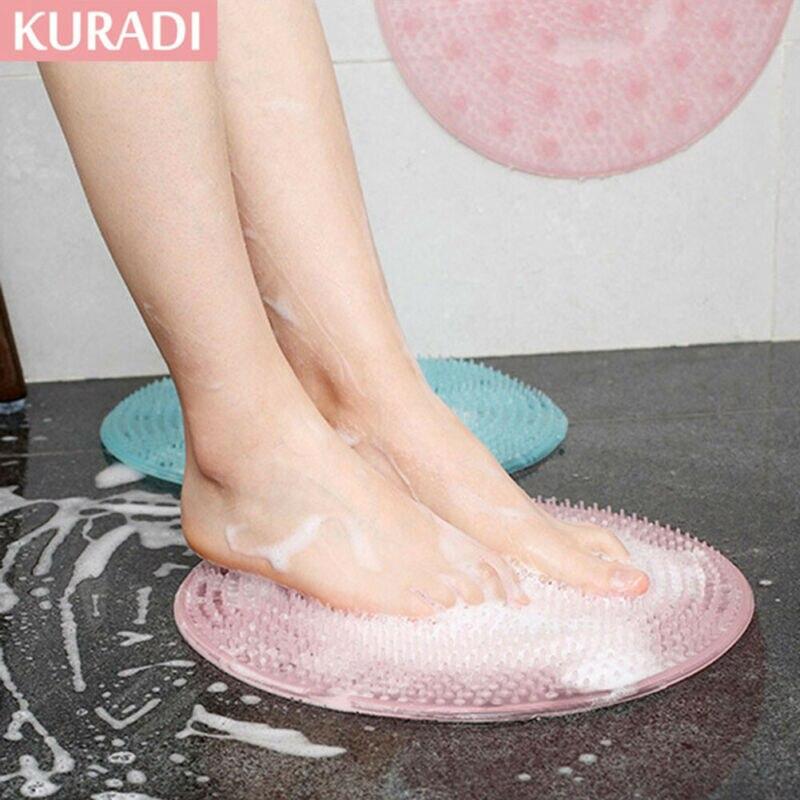 Silicone Body Brush Back Rub Firm Exfoliating Bath Sponge Foot Scrubber Massager Suction Pad Skin Scruber Anti-skid Pad Bathroom