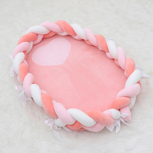 Crib Bed-Babynest Bassinet Cotton for Bumper Braid Elliptical Knot Infant Kids 50--80cm