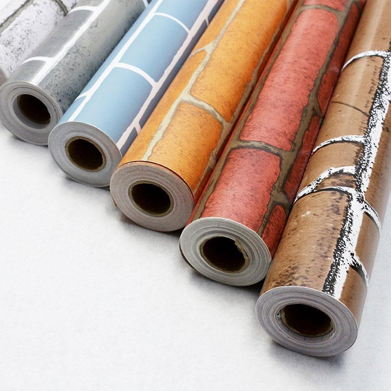 Small Roll Wholesale Dormitory Self Adhesive Wallpaper 10 M Bedroom Brick Pattern Wall Waterproof PVC Self-adhesive Wallpaper Mo