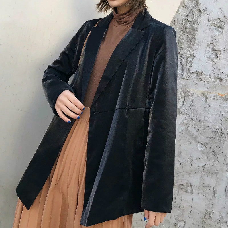 Fashion Lady Jacket Gold Velvet Small Suit Spring 2020 Casual Loose Solid Color Women's Blazer Elegant coat feminine