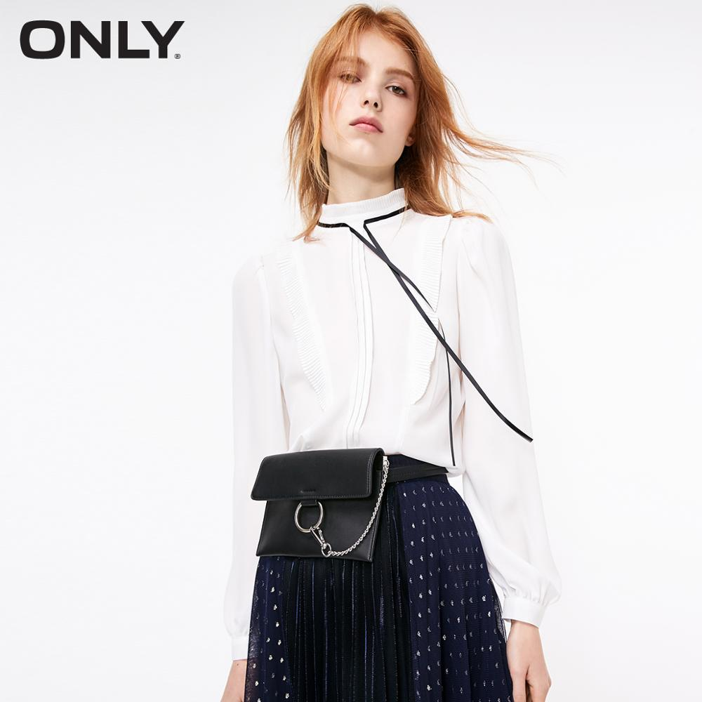 ONLY Women's  Loose Fit Mock Neck Lace-up Bowknot Chiffon Shirt | 119151503