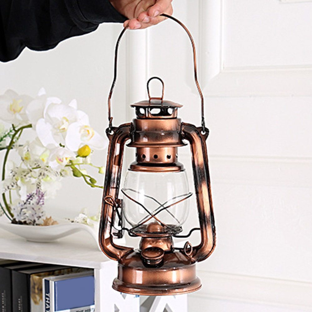 Outdoor Camping Tent Lamp Metal Camping Light Household Emergency Lamp Retro Style Portable Lighting Kerosene Lamp