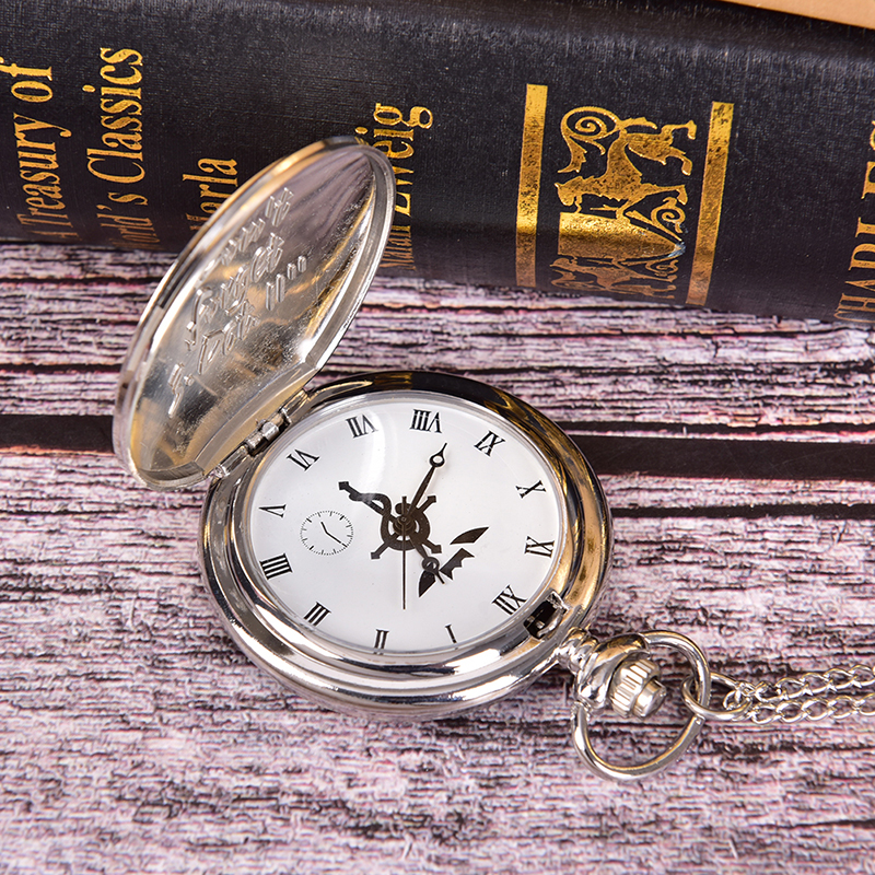 Full Metal Alchemist Silver Watch Pendant Men's Quartz Pocket Watches Japan Anime Necklace Children Boy