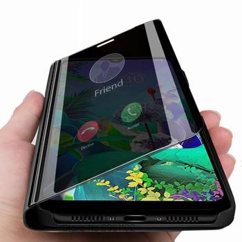 Перейти на Алиэкспресс и купить Для lg q60 чехол lg q60 умный зеркальный флип-чехол для телефона на lg k50 k12 max prime stand cover coque etui q 60 k 50 6,26 ''capa