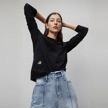 Toyouth 2020 printemps col rond broderie basique T Shirts décontracté nouveau à manches longues solide à manches longues noir T Shirts pour les femmes haut