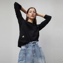 Toyouth Camisetas básicas bordadas con cuello redondo para mujer, ropa informal de manga larga lisa de manga larga, camisetas negras, Top 2020