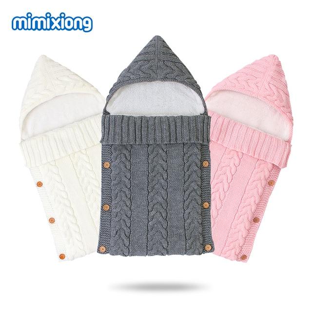 ベビー寝袋ベビーカー秋封筒新生児冬暖かい乳児の睡眠袋ケーブルニット幼児屋外おくるみラップ